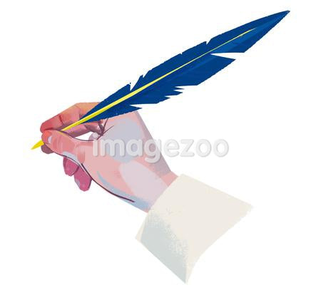 A hand using a quill pen