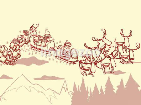 Santa Claus in his sleigh with elves dropping off presents