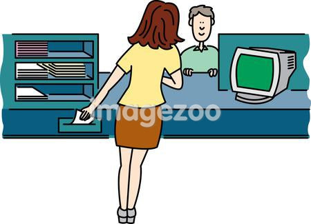 A customer at a desk being helped by a woman