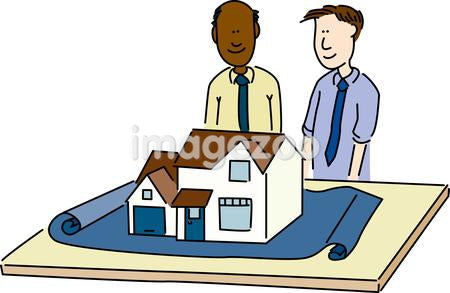 Two men looking a model of a house on a blue print