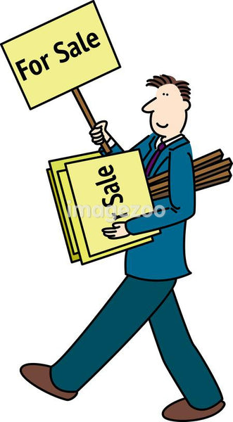 A businessman walking and holding a stack of For Sale signs