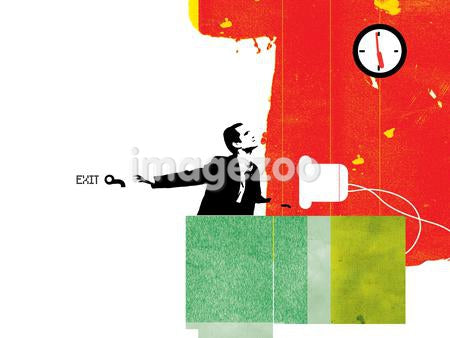 Businessman looking at a clock while he anticipates the end of the work day