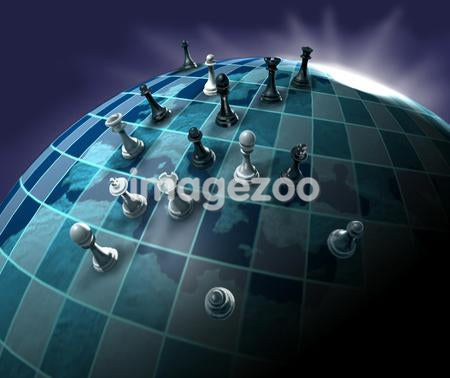 A conceptual illustration of a world chess game