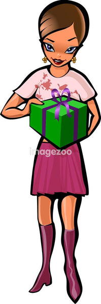A woman with a green giftbox