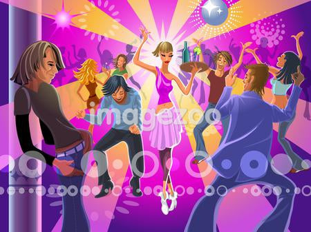 A club scene where people on the dance floor are having a blast