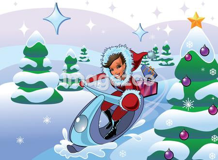 A woman in Santa suit with gifts on a snowmobile in a winter landscape