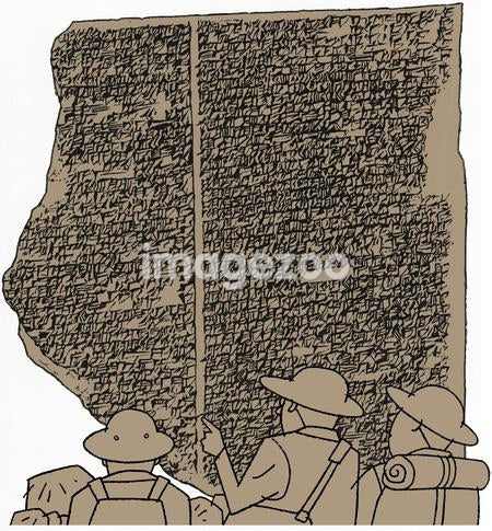 Three explorers reading script on a stone