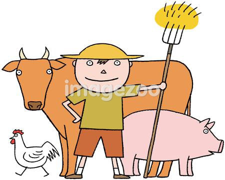 A young farmer with a cow, pig and chicken