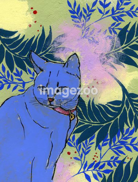 Painting of a blue cat
