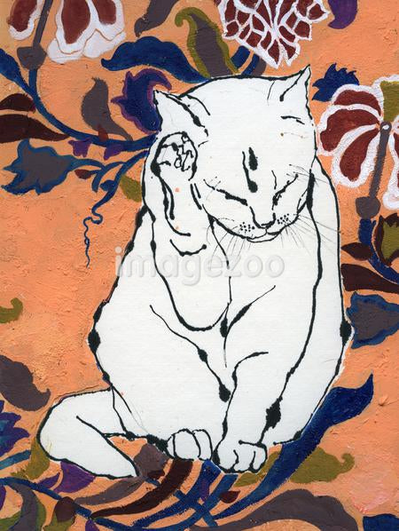Painting of a white cat with paws up