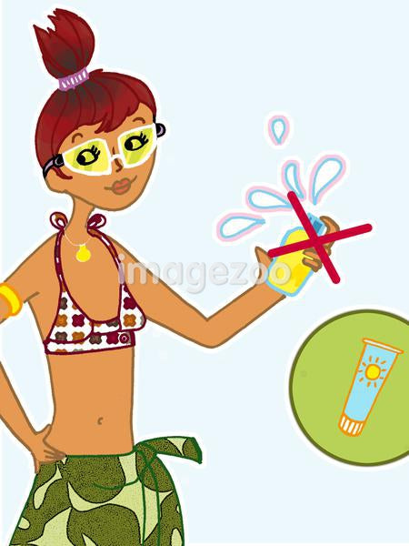 An illustration about using sun tan lotion instead of aerosol spray