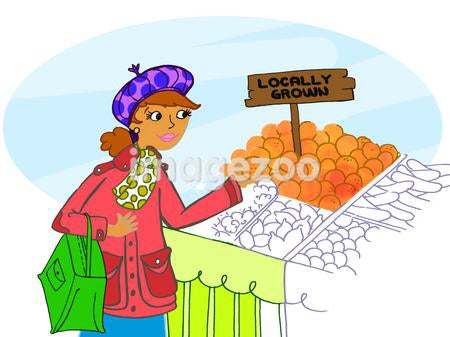 A woman buying locally grown produce