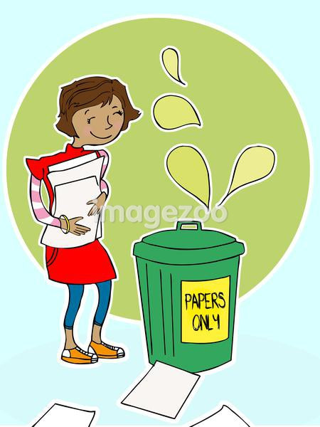 A girl taking a pile of papers to a recycling bin