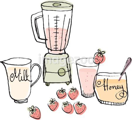 A blender and ingredients to make a strawberry smoothie