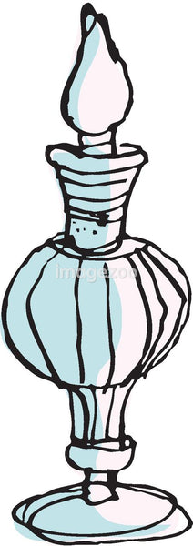 A blue perfume bottle
