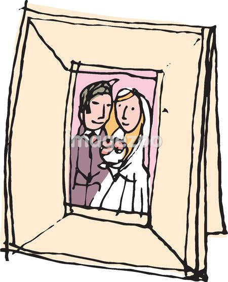 A wedding photo in a picture frame