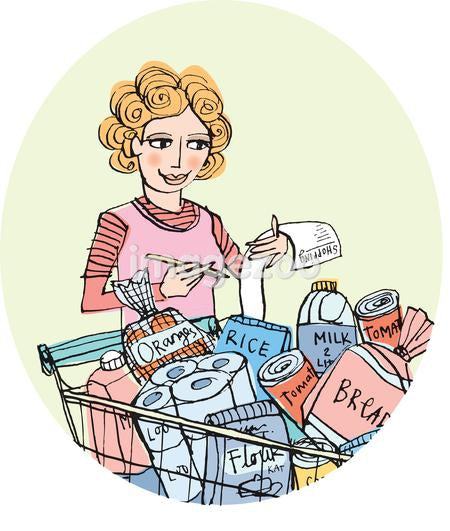 An illustration of a woman checking off a shopping list with a full trolley of groceries