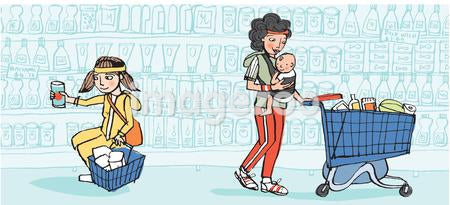 An illustration of people shopping at a grocery store