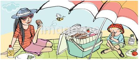 An illustration of a mother and son enjoying a picnic under an umbrella