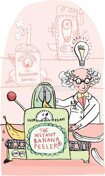 An illustration of a mad scientist working on an 'instant banana peeler' machine