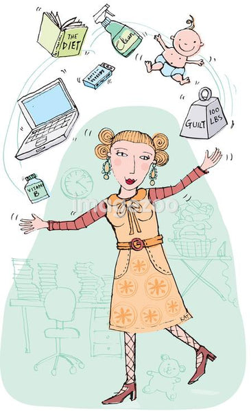 An illustration of a woman literally juggling the tasks of her life