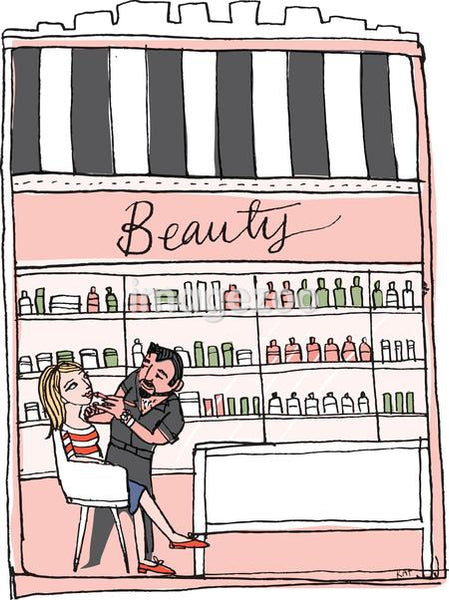 An illustration of a woman having her make-up applied at a beauty store