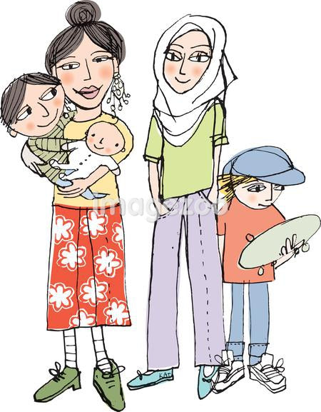 An illustration of two mothers with their children
