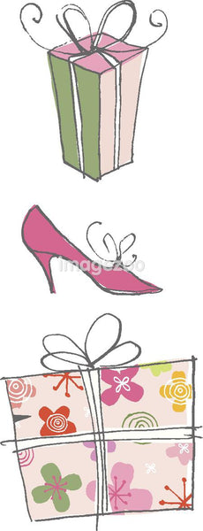 a high heel shoe and presents