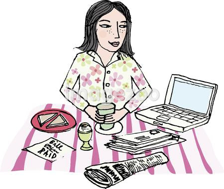 a woman in her pajamas with morning coffee infront of the laptop