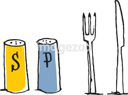 Salt and pepper and cutlery