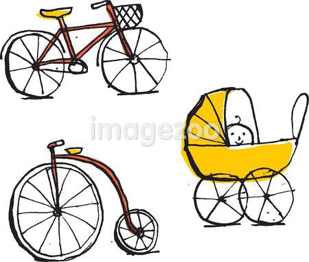 Two bikes and a baby carriage