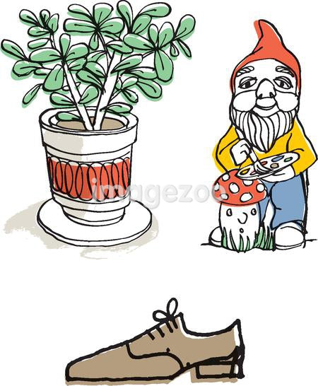 Plant, shoe, and gnome