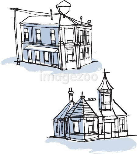 Buildings against white background
