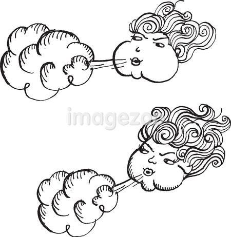 Women blowing air against white background