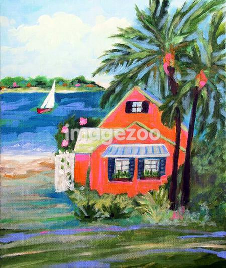 A painting of a house on the oceanfront