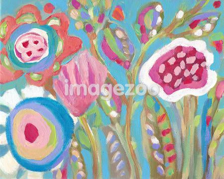 A painting of colorful spring flowers