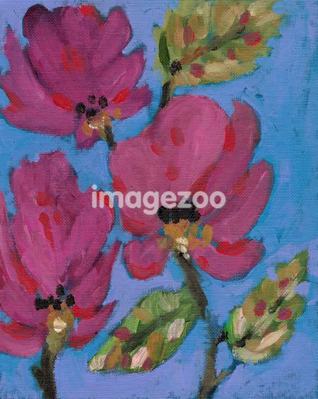 A painting of dark pink magnolia flowers