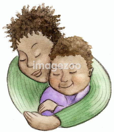 A watercolor illustration of a woman giving a child a hug