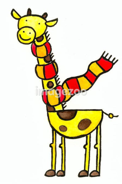 A giraffe with a scarf wrapped around its neck