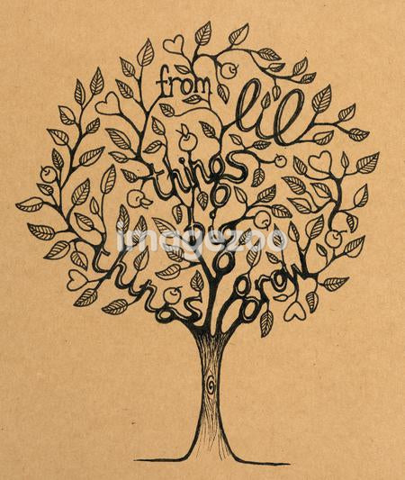 A tree with hearts and the quote From lil things big things grow
