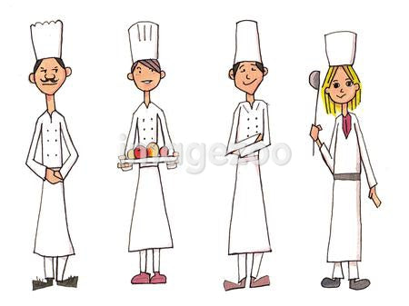 Four chefs in a row