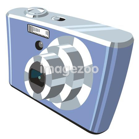 Digital camera against white background