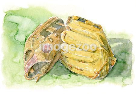 Painting of two baseball mitts
