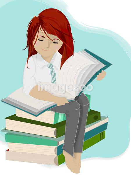 A girl sitting on a stack of books