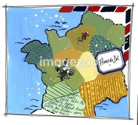 A map showing where the Fleur de sel is harvested in Brittany, France
