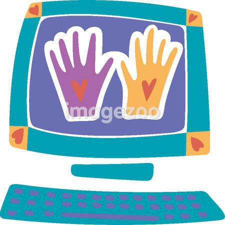 Two different colored hands on a computer screen