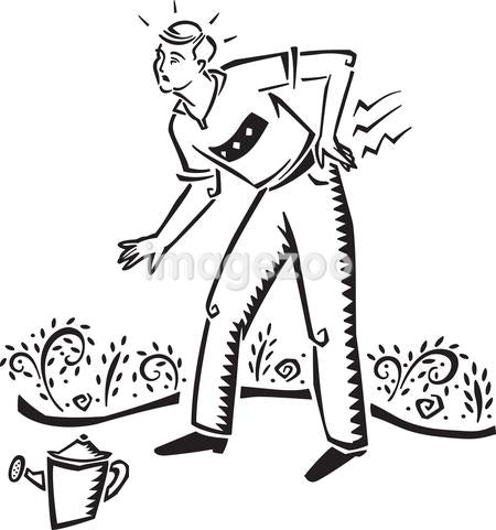 A man hurting his back while gardening