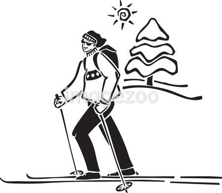 A person cross country skiing
