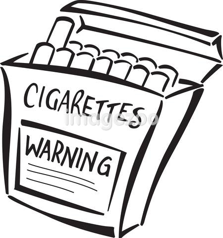 A carton of cigarettes with a warning label