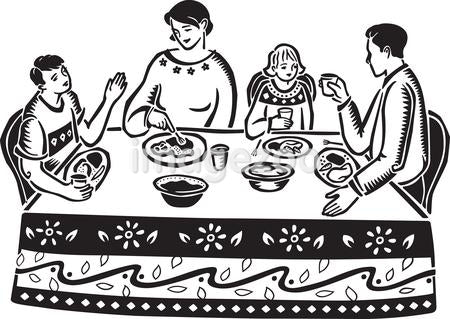 A family eating at the table